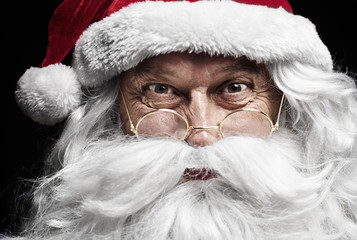 Close up of  santa claus's human face .