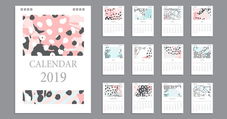 Design of wall monthly Calendar for 2019 year. Hand drawn pastel background. Set of creative 12 calendar pages.  Print Template, week starts Sunday.