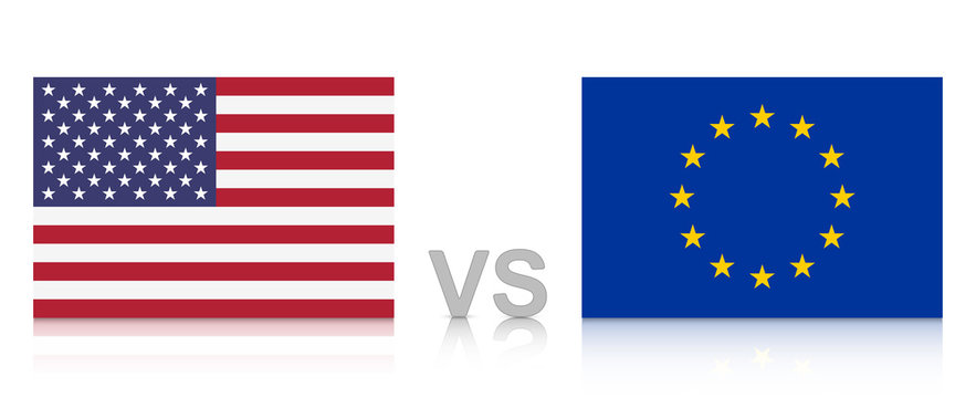 USA versus EU. The United States of America against the European Union. National flags with reflection. Vector Illustration EPS 10