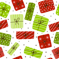 Seamless pattern with Christmas gift boxes
