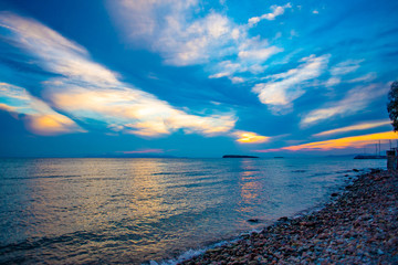 Sunset over the sea in Greece
