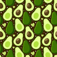 Seamless pattern with green avocado