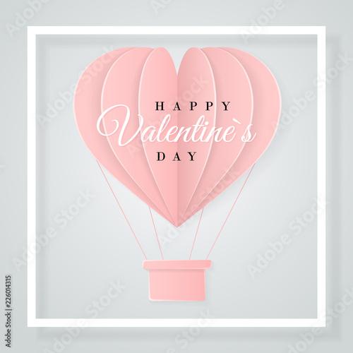 Happy Valentines Day Retro Invitation Card Template With Origami