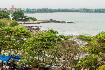 GALLE, SRI LANKA - JULY 12, 2016:  View of a sea coast in Galle