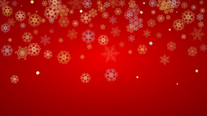 Christmas snow on red background. Glitter frame for winter banners, gift coupon, voucher, ads, party event. Santa Claus colors with golden Christmas snow. Horizontal falling snowflakes for holiday