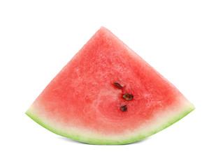 a piece of cut watermelon isolated on white background