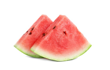 two pieces of cut watermelon isolated on white background