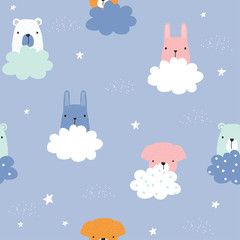 Childish seamless pattern with cute animals and clouds. Vector hand drawn illustration.