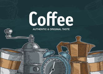 set with different types of coffee. Hand drawn illustration
