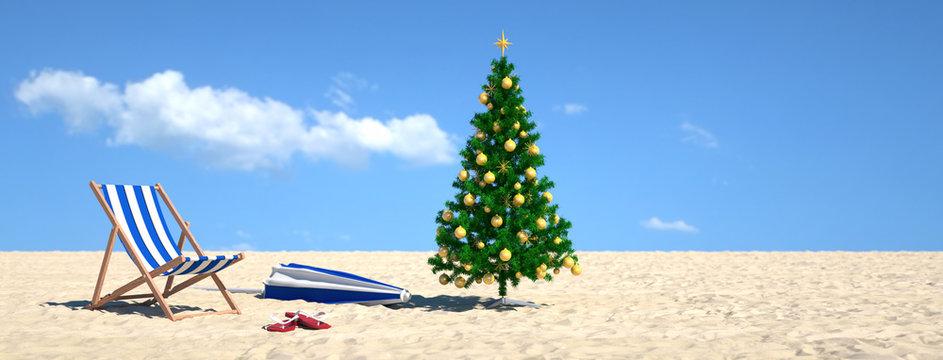 Weihnachtsbaum am Strand im Urlaub am Meer