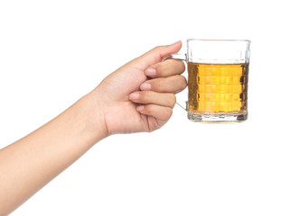 hand holding glass of beer isolated on white background