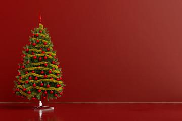 Weihnachtsbaum mit Dekoration und Textfreiraum