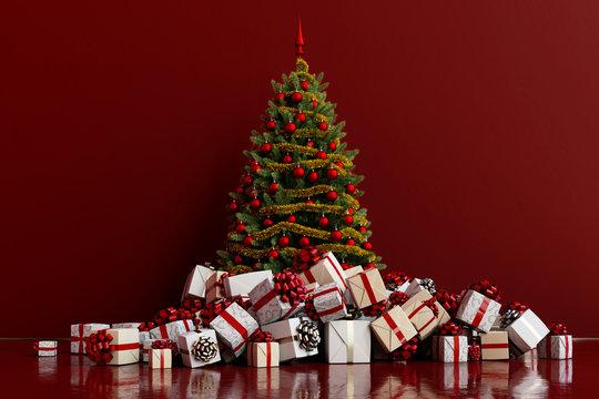 Geschenke mit Weihnachtsbaum vor Hintergrund