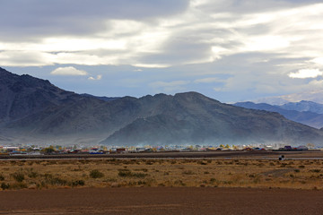Natural beauty of the house and mountains in the Ulgii city, Mongolia