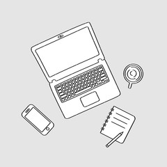 Working area conceptual hand drawn line art of notebook, note, smart phone, and coffee