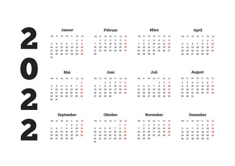 2022 year simple calendar on german language, isolated on white