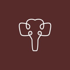 Unique logo of Elephant with creative one line art style