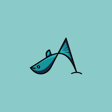Fish logo abstract icon with A font symbol gestalt style in blue colors. Creative unique vector illustration.