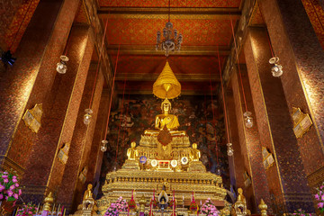One landmark of Wat Phra Chettuphon Wimon Mangkhalaram Ratchaworamahawihan in Bangkok, Thailand. A place everyone in every religion can be viewed.