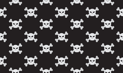 Vector illustration seamless skulls and crossbones on black background