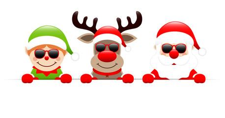 Elf, Rudolph & Santa Sunglasses Banner