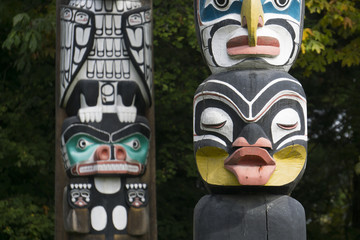 First Nations totem poles in Stanley Park, Vancouver, Canada