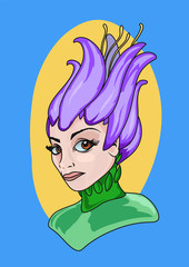 Bust of a woman dressed or disguised as a flower. Carnival costume. Vector illustration