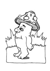A funny and smiling Mushroom character in black and white. Nice for fairy tales. Vector illustration