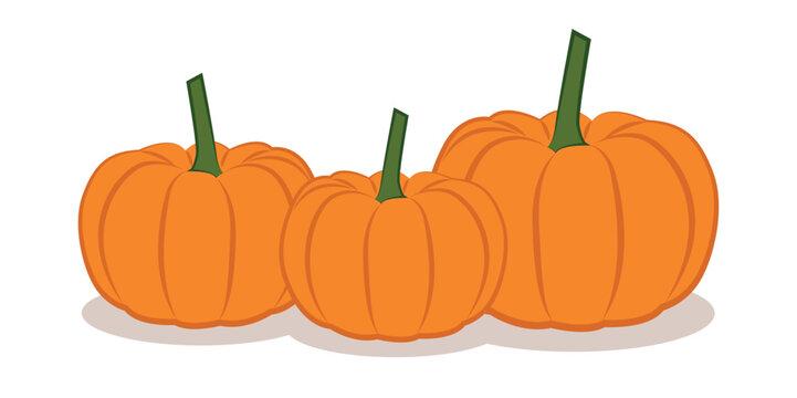 three orange pumpkings isolated on white background