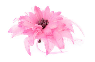 Pink flower of brooch isolated on white background