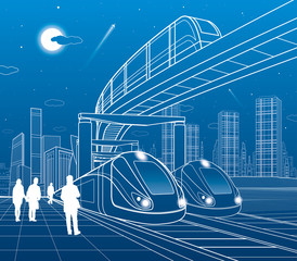 Two trains travel by rail. Monorail move to bridge. Modern night town. Urban scene. People walking at street. Airplane fly. White lines on blue background. Vector design art