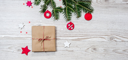 Gift box on wood background