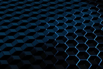 Futuristic background with a pattern of hexagons cubes illuminated by blue light. Optical illusion pattern. 3d illustration.
