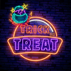 Door stickers Halloween Halloween neon sign vector. Trick or treat Halloween Design template with ghost and web for banner, poster, greeting card, party invitation, light banner.