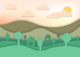 Summer Landscape for paper art style. Vector illustration.