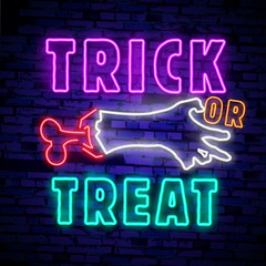 Aluminium Prints Halloween Halloween neon sign vector. Trick or treat Halloween Design template with ghost and web for banner, poster, greeting card, party invitation, light banner.