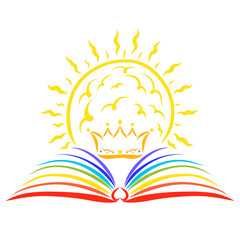 Crown and shining sun over an open rainbow book