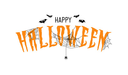 "Halloween banner design template with cobweb. ""Happy Halloween"" card on white background."