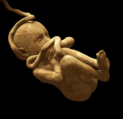 Old wooden sculpture of a human fetus