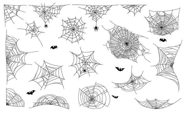 Spider web set on white background. Cobweb elements design. Vector illustration