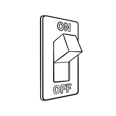 Cartoon electric switch, black and white, hand drawn, sketch style, isolated on white background. Vector illustration