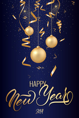 Happy new year postcard with nice lettering Happy New Year in gold color