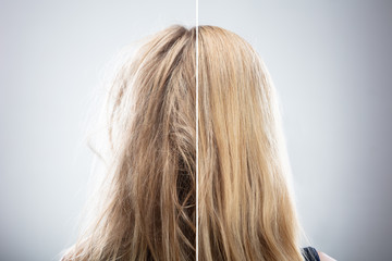 Woman's Hair Before And After Hair Straightening