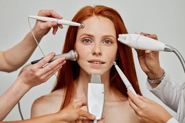 Fototapeta Cosmetology concept. Modern trends in cosmetic procedures obraz
