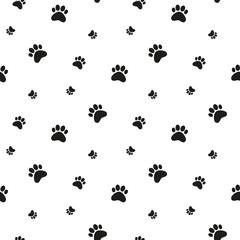 Paw print background. Cat, dog footprint seamless pattern.