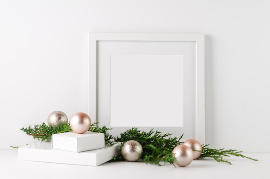 frame mock up with christmas decorations