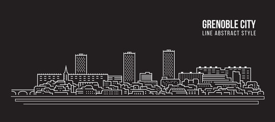 Cityscape Building Line art Vector Illustration design - Grenoble city