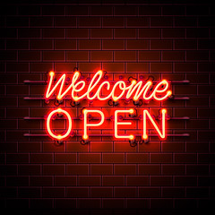 Neon welcome open signboard on the brick wall background. Vector illustration