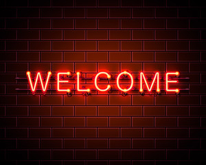 Neon welcome signboard on the red background. Vector illustration