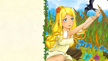 cartoon fairy tale scene with beautiful young girl in the meadow waving to cuckoo bird - with frame for text - illustration for children